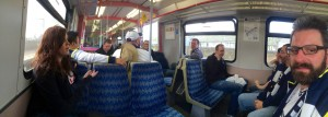 The gang on the train to White Hart Lane.