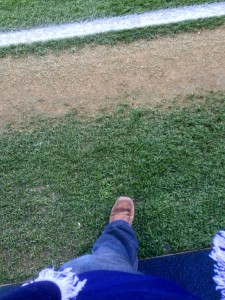 A sneaky foot on the pitch.