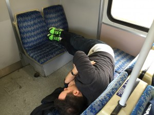 Cesare asleep on the train to White Hart Lane.